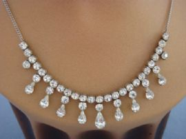 Sterling Silver and Diamante Necklace- 1950s Necklace suitable for a Bride (Sold)